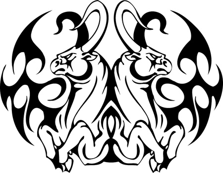 Bull in tribal style - vector image. Stock Vector - 12490411