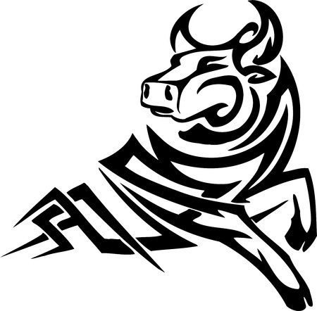 Bull in tribal style - vector image. Stock Vector - 12489786