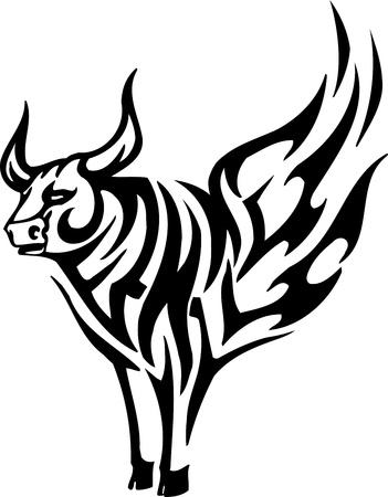 torero: Bull in tribal style - vector image. Illustration