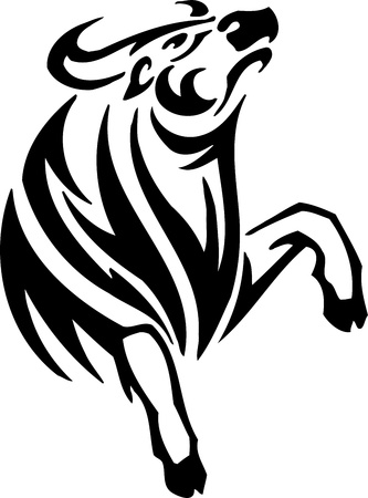 corrida: Bull in tribal style - vector image. Illustration