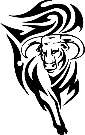 Bull in tribal style - vector image. Vector
