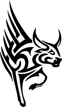 Bull in tribal style - vector image. Stock Vector - 12489683