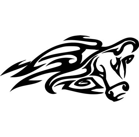corrida: Bull in tribal style - vector image. Illustration