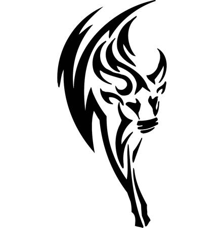 Bull in tribal style - vector image. Stock Vector - 12488266