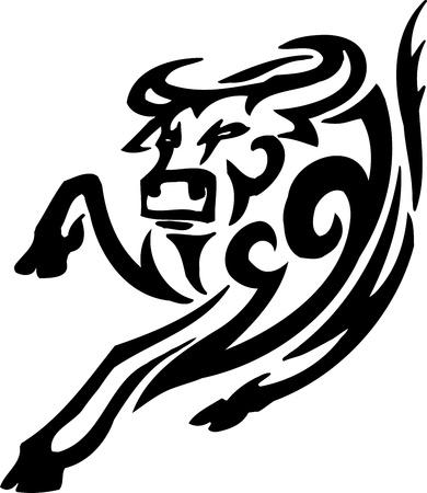 Bull in tribal style - vector image. Stock Vector - 12489772