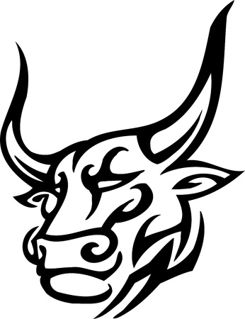 Bull in tribal style - vector image. 向量圖像