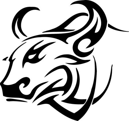 Bull in tribal style - vector image. Vetores
