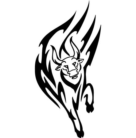 bullfighting: Bull in tribal style - vector image. Illustration