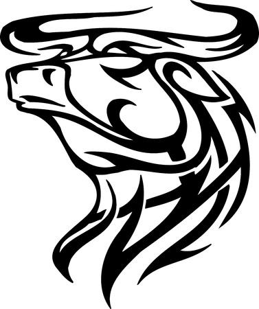 cruel: Bull in tribal style - vector image. Illustration
