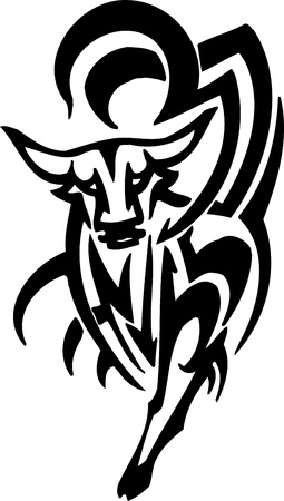 Bull in tribal style - vector image. Stock Vector - 12490615