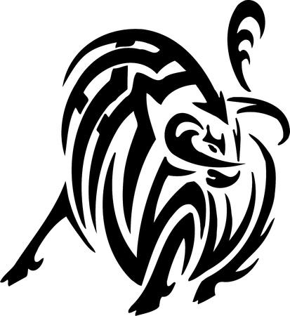 Bull in tribal style - vector image. Vector