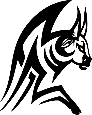 Bull in tribal style - vector image. Stock Vector - 12490482