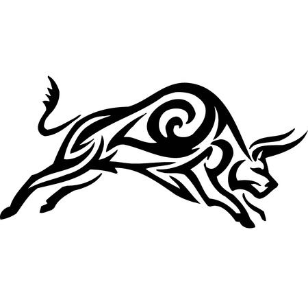 bullfights: Bull in tribal style - vector image. Illustration