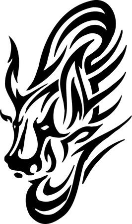 Bull in tribal style - vector image. Illustration