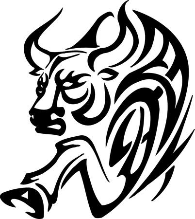 Bull in tribal style - vector image. Stock Vector - 12490630