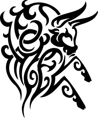 Bull in tribal style - vector image. Vektoros illusztráció