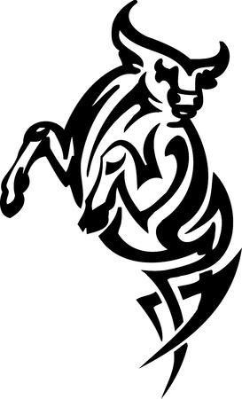 Bull in tribal style - vector image. Stock Vector - 12490543