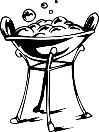 broth: Pot with a potion -  vector illustration