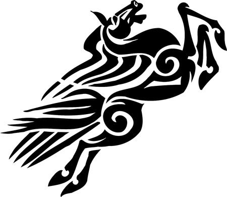 tribal dance: Horse in tribal style - vector illustration