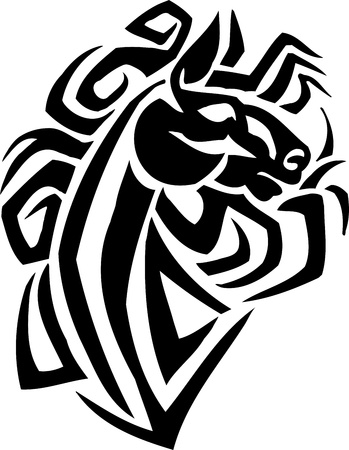 steed: Horse in tribal style - vector illustration