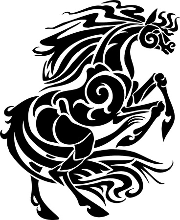 running: Horse in tribal style - vector illustration