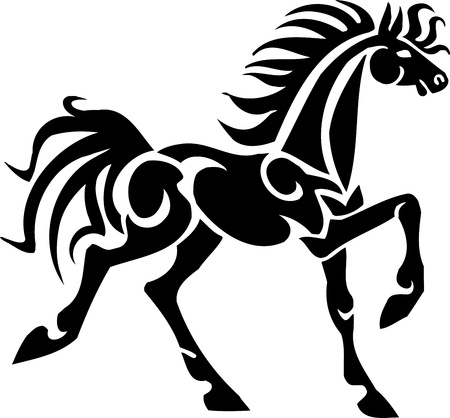 dressage: Cheval dans le style tribal - illustration vectorielle