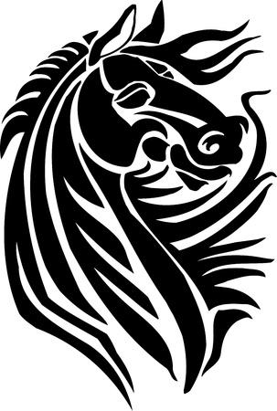 caballo saltando: Caballo en estilo tribal - ilustraci�n vectorial