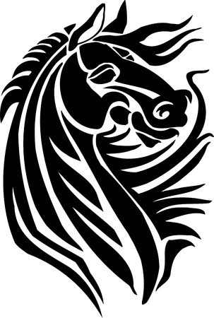cavallo che salta: Cavallo in stile tribale - illustrazione vettoriale Vettoriali