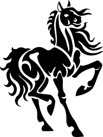 trained: Horse in tribal style - vector illustration