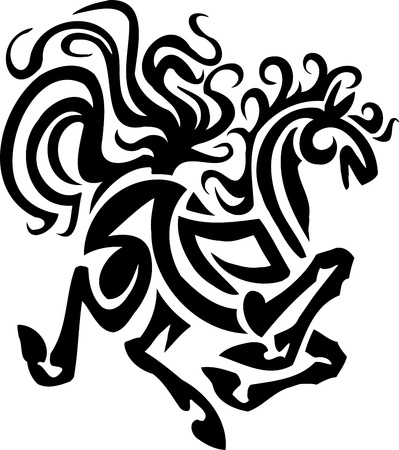 pony tail: Horse in tribal style - vector illustration