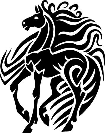 部族スタイル - ベクター グラフィックの馬