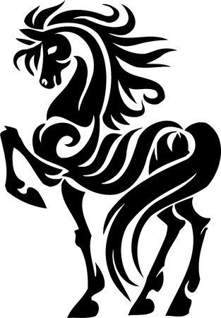 horse running: Horse in tribal style - vector illustration