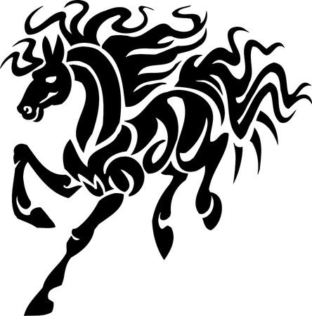 horse tail: Caballo en estilo tribal - ilustraci�n vectorial
