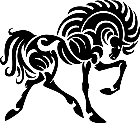 Pferd im Tribal Style - Vektor-Illustration Standard-Bild - 13932335