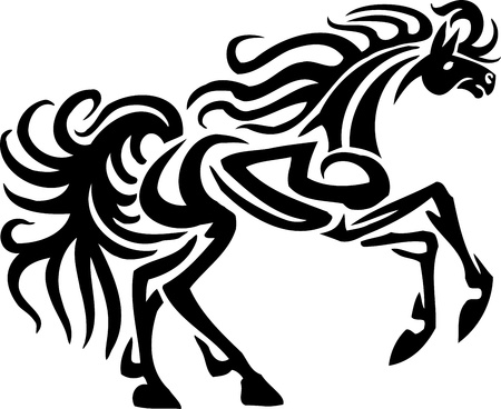 show jumping: Horse in tribal style - vector illustration