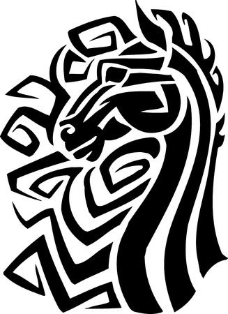 manes: Horse in tribal style - vector illustration
