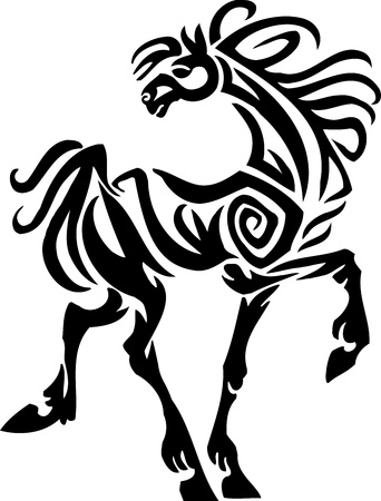 horse show: Horse in tribal style - vector illustration
