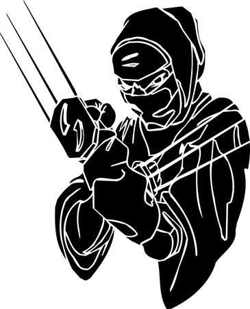 warrior pose: Ninja fighter - vector illustration  Vinyl-ready