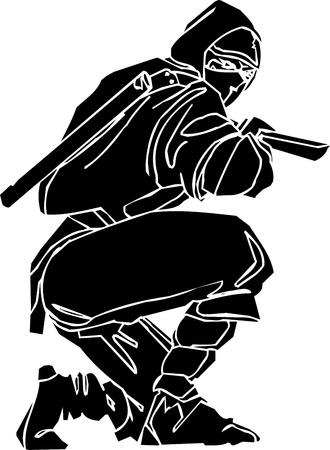 Ninja fighter - vector illustratie Vinyl-klaar