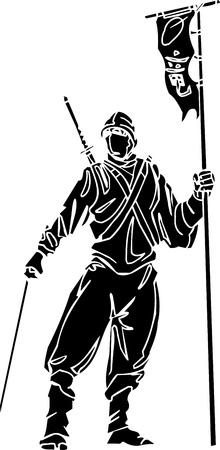 Ninja fighter - vector illustration  Vinyl-ready  Vector