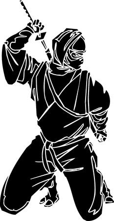katana: Ninja fighter - vector illustration  Vinyl-ready