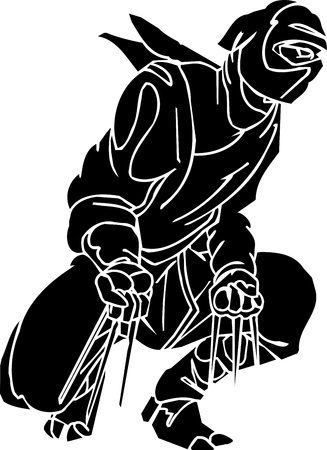 Ninja fighter - vector illustration  Vinyl-ready  Vector