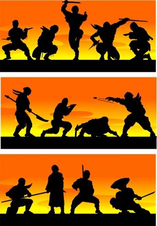 katana: Ninja at sinrise  Vector illustration
