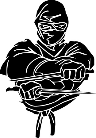 Ninja fighter - vector illustration  Vinyl-ready  illustration