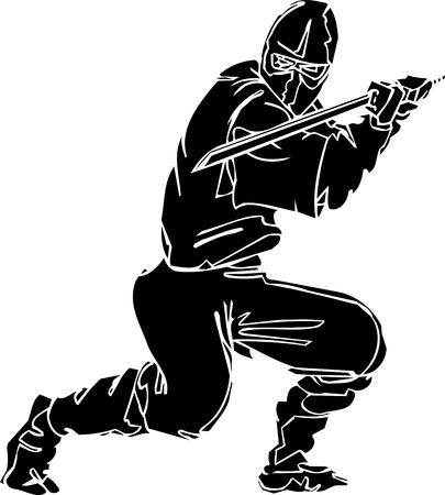 shuriken: Ninja Fighter - ilustraci�n vectorial de vinilo preparados Foto de archivo