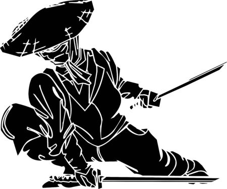 ninjutsu: Ninja fighter - vector illustration  Vinyl-ready