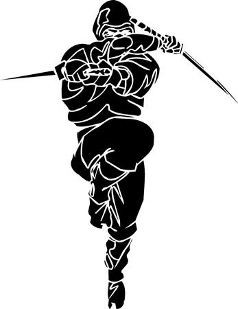 Ninja fighter - vector illustration  Vinyl-ready  illustration