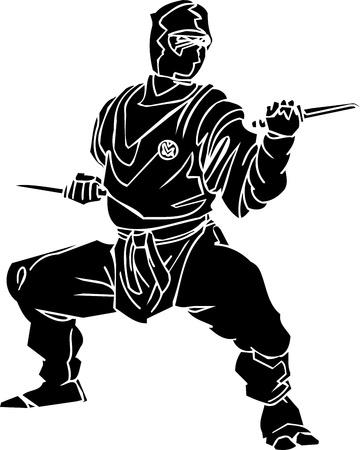 shuriken: Ninja fighter - vector illustration  Vinyl-ready