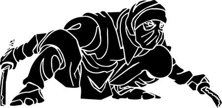 Ninja fighter - vector illustration  Vinyl-ready 版權商用圖片 - 13932284