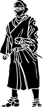 Ninja fighter - vector illustration  Vinyl-ready Stock Vector - 13932314